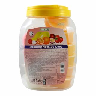 Frucht Mix Pudding, Dessert mit Kokosnuss Gel, Nata de Coco, 16 Becher, Cocon 1280g